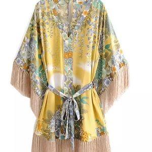 ⭐️five star yellow boho tassel dress